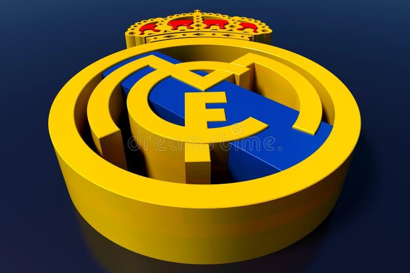 Logotipo da equipa de futebol do Real Madrid Rendição 3D editorial ilustração stock