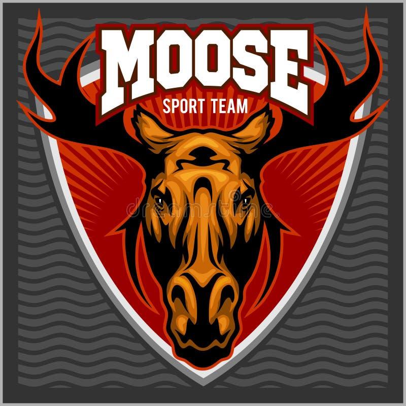 Logotipo da equipe dos alces do esporte ilustração stock