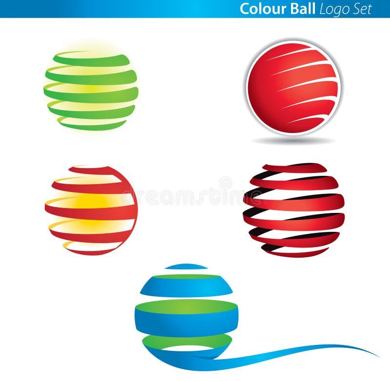 Logotipo da esfera do globo da cor ilustração do vetor