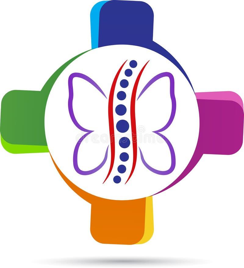 Logotipo da especialidade do cuidado da espinha ilustração do vetor