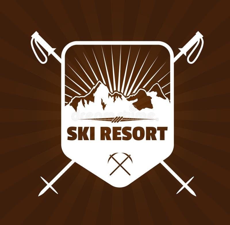 Logotipo da estância de esqui ilustração do vetor