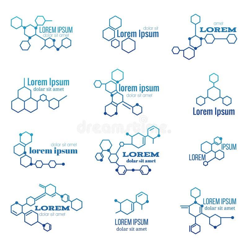 Logotipo da estrutura da molécula ou grupo modelo do vetor do sinal da biologia ilustração royalty free