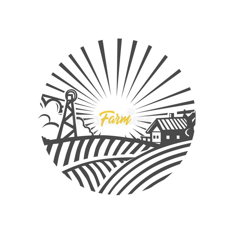 Logotipo da exploração agrícola Ilustração preto e branco foto de stock royalty free
