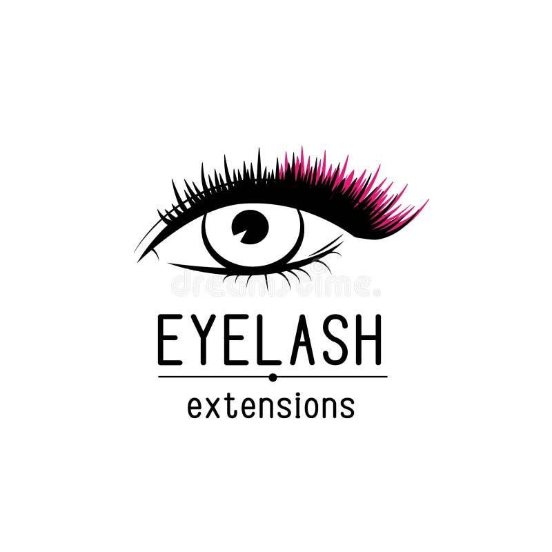 Logotipo da extensão da pestana, olho fêmea com ilustração do vetor