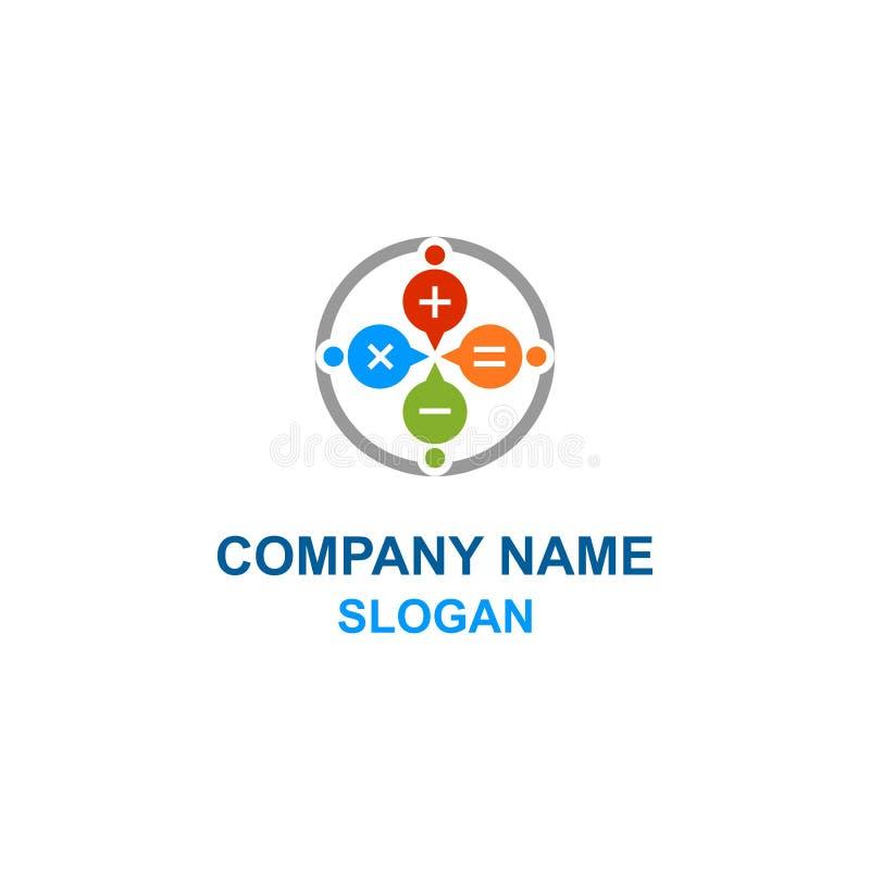 Logotipo da família da calculadora do discurso da bolha da matemática ilustração stock