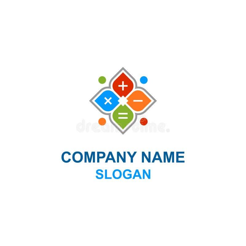 Logotipo da família da calculadora da flor da matemática ilustração stock