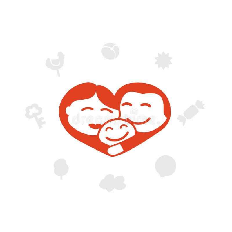 Logotipo da família, coração, idílio, criança ilustração royalty free