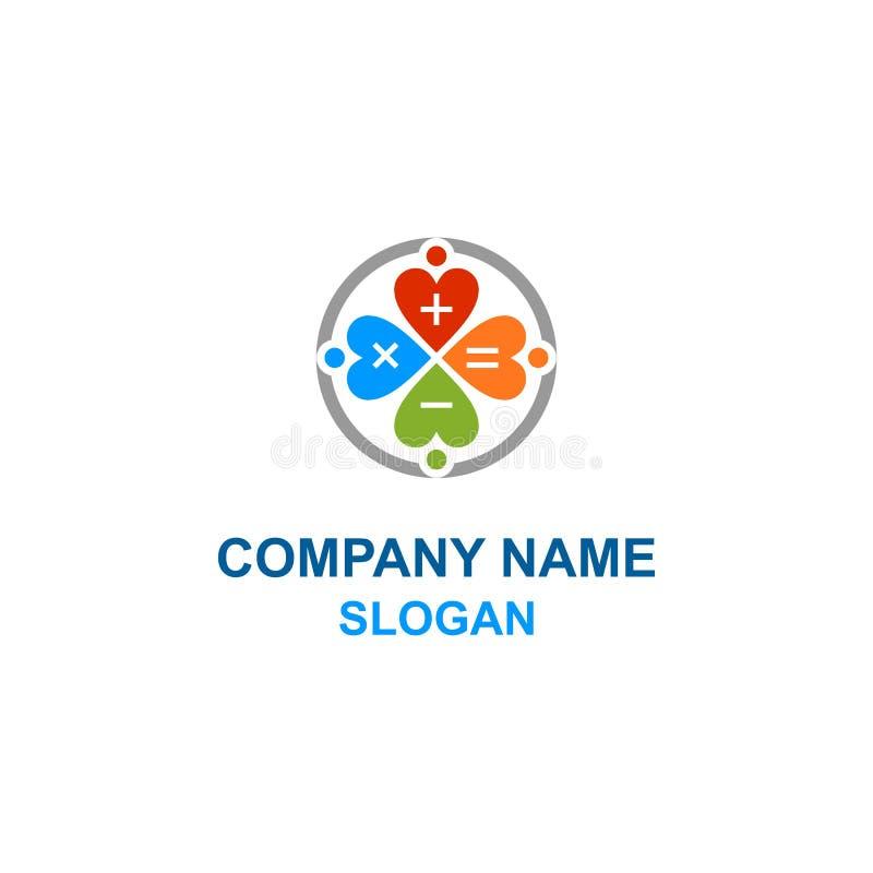 Logotipo da família do amor da calculadora da matemática ilustração stock