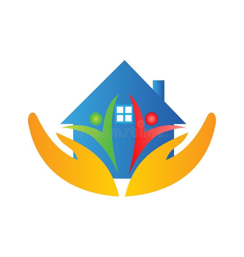 Logotipo da família e das mãos da casa ilustração royalty free