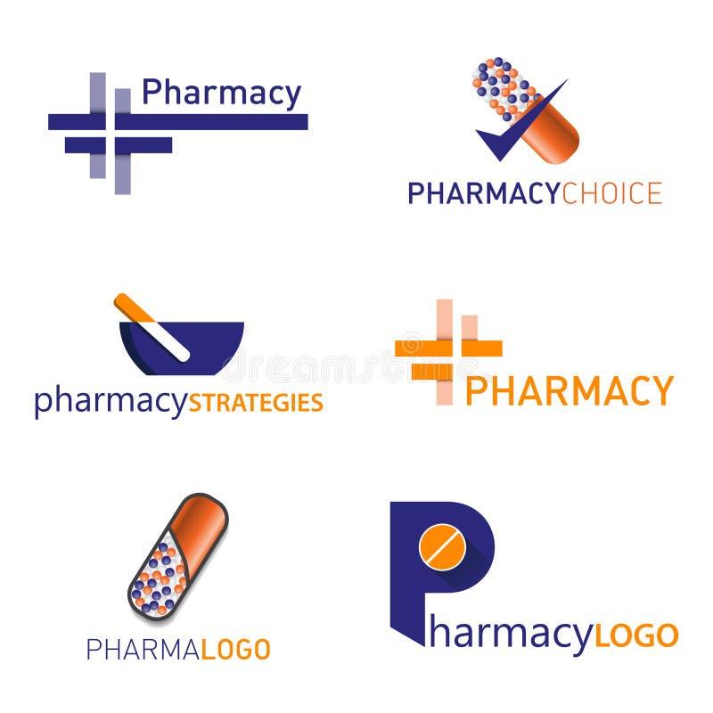 Logotipo da farmácia Ajuste o vetor ilustração royalty free