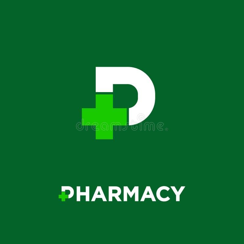 Logotipo da farmácia Letra P com o ícone transversal da farmácia, isolado em um fundo escuro-verde ilustração royalty free