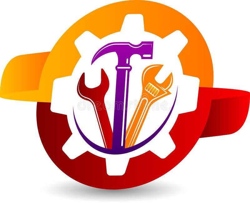 Logotipo da ferramenta da engrenagem ilustração stock