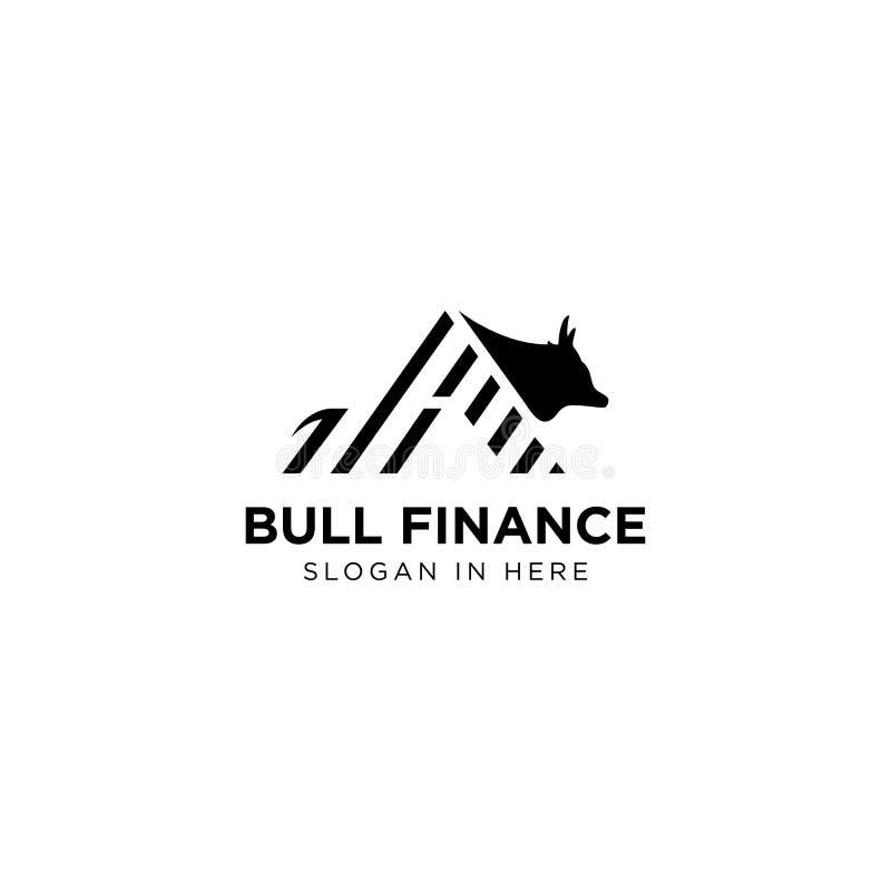 Logotipo da finança de Bull com linha estilo da tira da arte ilustração do vetor