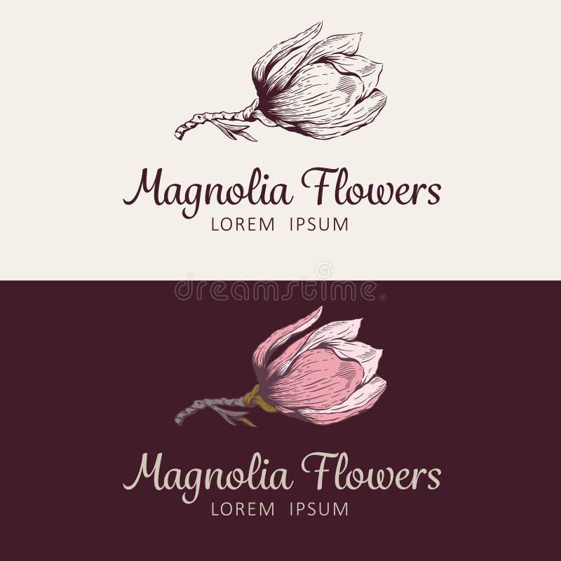 Logotipo da flor da magnólia ilustração royalty free