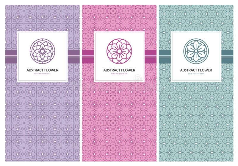 Logotipo da flor e molde sem emenda do projeto do teste padrão ilustração royalty free