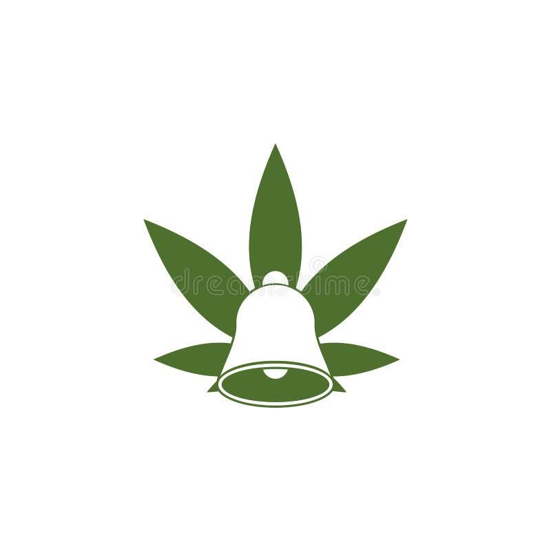 Logotipo da folha do cannabis de Bell ilustração do vetor