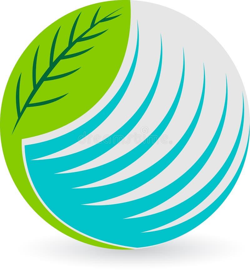 Logotipo da folha do globo ilustração stock