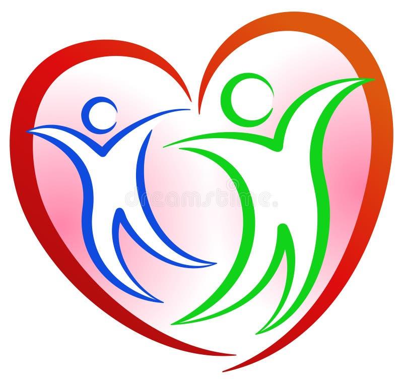 Logotipo da forma do coração dos povos ilustração do vetor