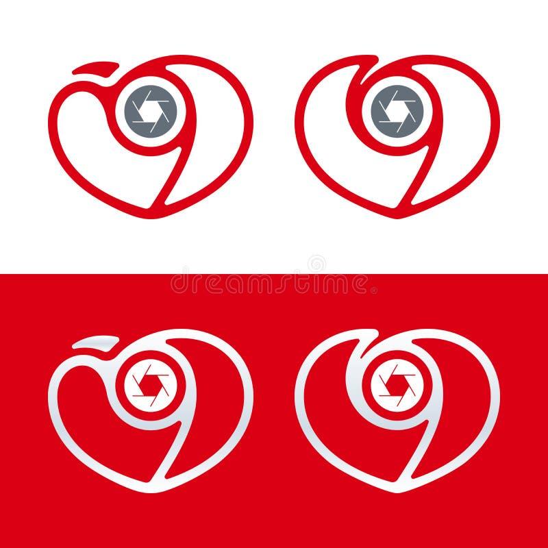 Logotipo da fotografia Ícone da câmera com coração e obturador Tema do amor ilustração do vetor
