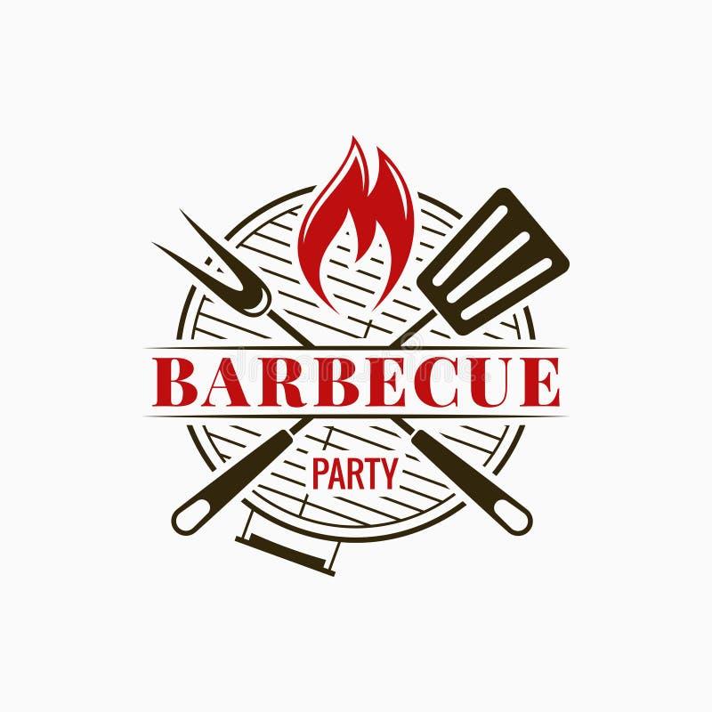 Logotipo da grade do assado Partido do BBQ com a chama do fogo no fundo branco ilustração royalty free