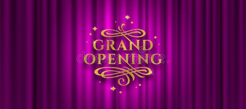 Logotipo da grande inauguração O logotipo do ouro do brilho com floresce elementos decorativos em um fundo roxo da cortina ilustração royalty free