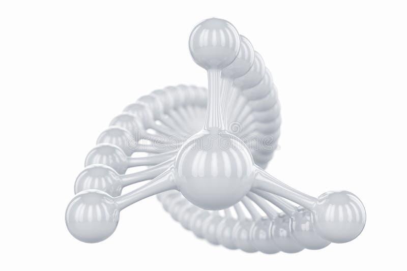 Logotipo da hélice da molécula do ADN do wireframe 3d espiral branca abstrata ou conceito isolado do ícone no fundo branco Água,  ilustração royalty free