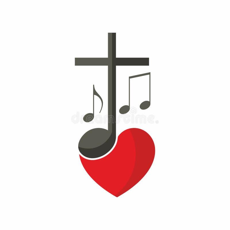 Logotipo da igreja cristã Cruz de Jesus, das notas musicais e do coração ilustração royalty free