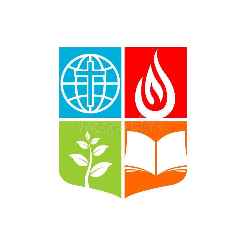 Logotipo da igreja A cruz de Jesus e a Bíblia aberta, o globo e chama, o germe da fé ilustração stock