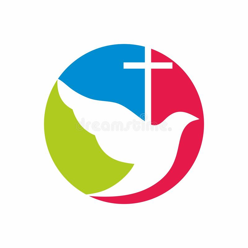 Logotipo da igreja A cruz de Jesus e do voo mergulhou ilustração royalty free