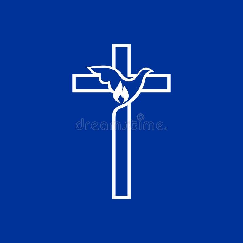 Logotipo da igreja A cruz de Jesus e da pomba ilustração stock