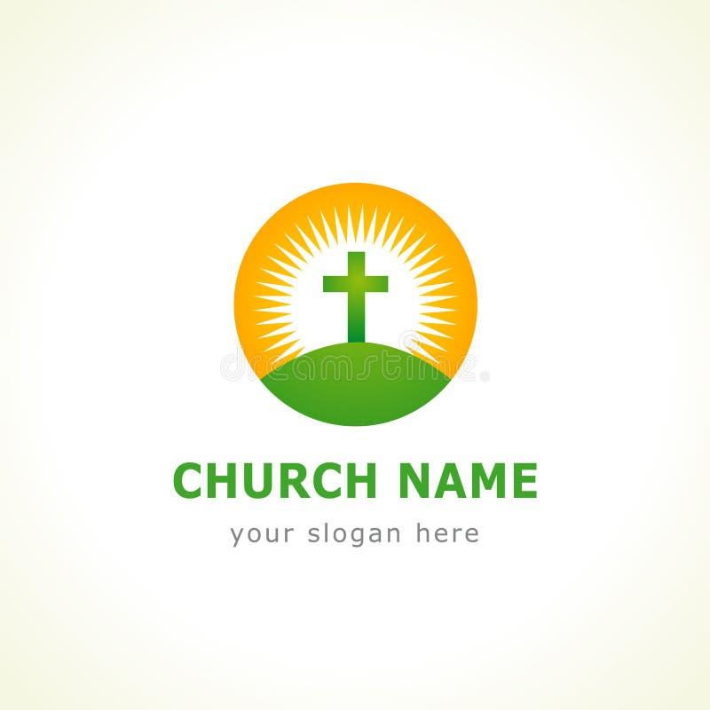 Logotipo da igreja da cruz de calvário ilustração stock