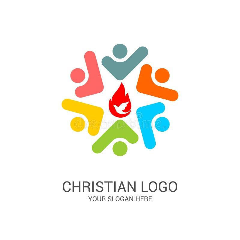 Logotipo da igreja e s?mbolos b?blicos A unidade dos crentes em Jesus Christ, a adora??o do deus ilustração royalty free
