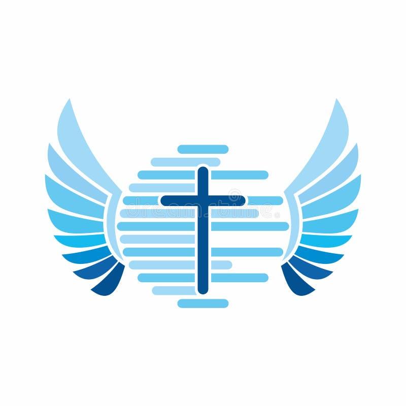 Logotipo da igreja Globo, mundo, de ` de Jesus cruz e asas do anjo ilustração do vetor