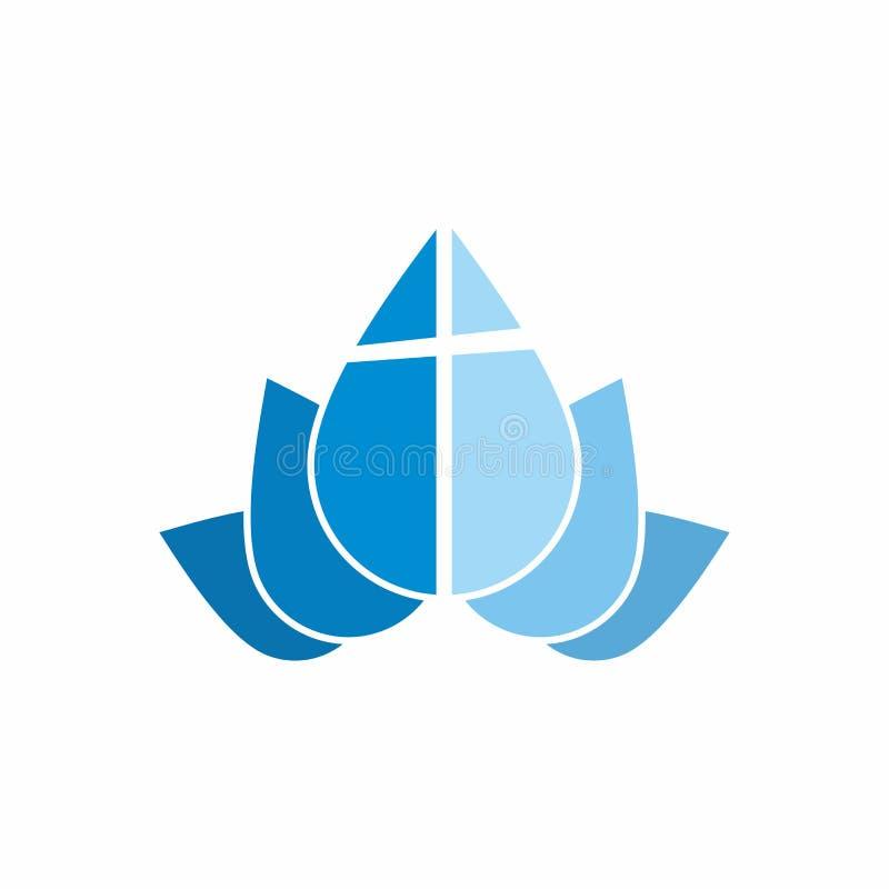Logotipo da igreja Gotas da cruz e da água ilustração stock