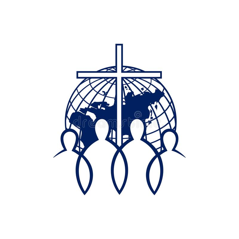 Logotipo da igreja Povos do mundo unido por Cristo ilustração royalty free