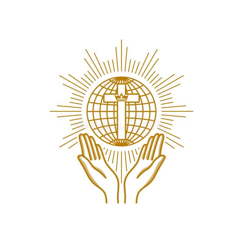 Logotipo da igreja Símbolos cristãos Rezando as mãos são giradas para a cruz no fundo do globo ilustração do vetor