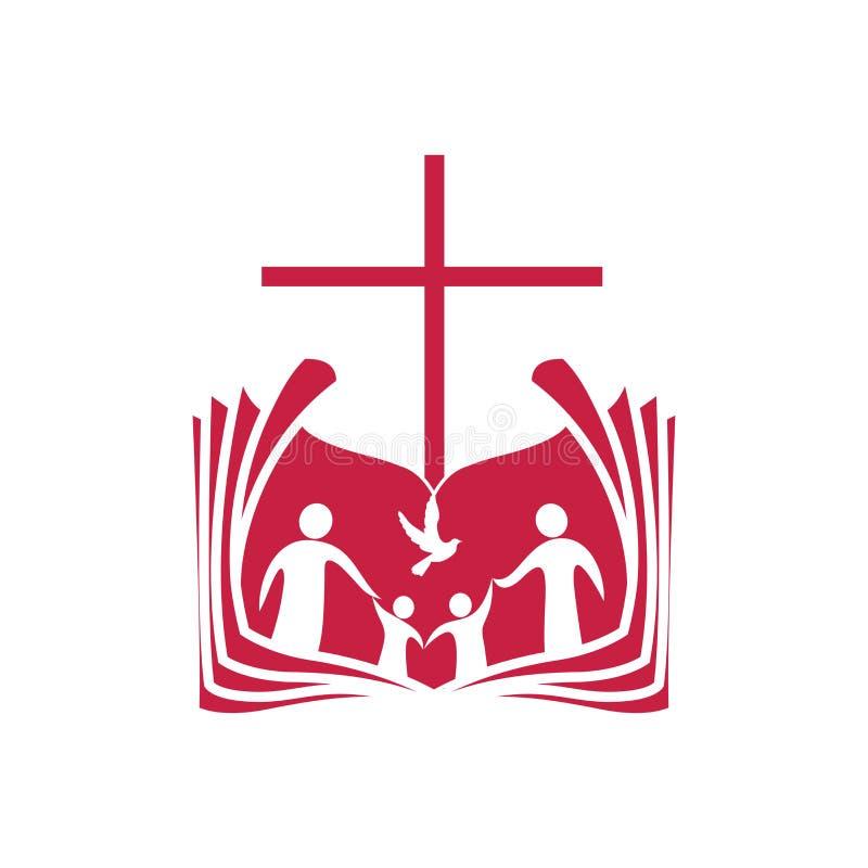 Logotipo da igreja Uma Bíblia aberta, a cruz de Jesus Christ e a família dos crentes no senhor ilustração royalty free