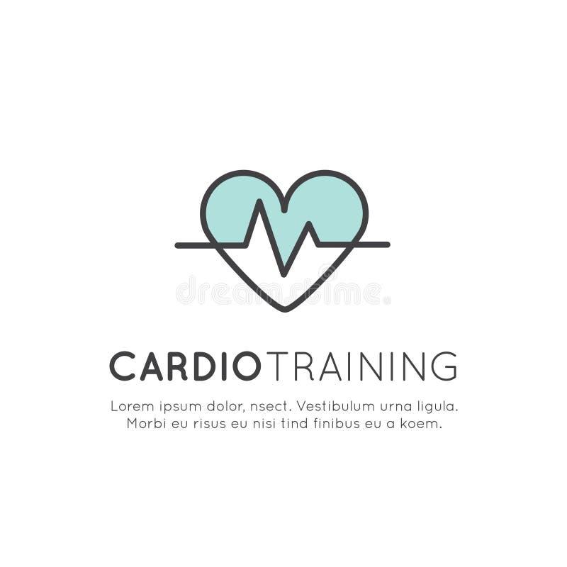 Logotipo da ilustração do cardio- treinamento ilustração stock