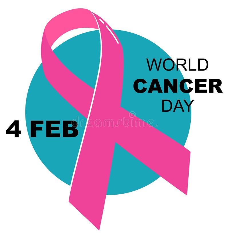 Logotipo da ilustração do vetor do dia do câncer do mundo ilustração do vetor
