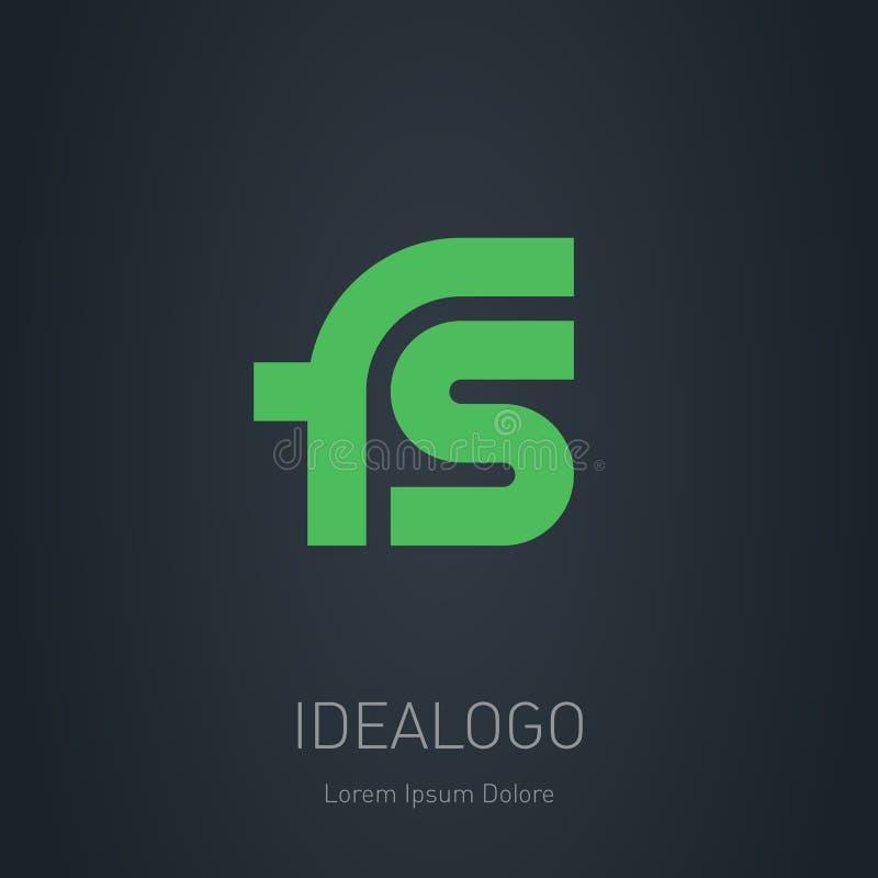 Logotipo da inicial do FS Logotype do monograma da inicial do FS Ele do projeto do vetor ilustração do vetor