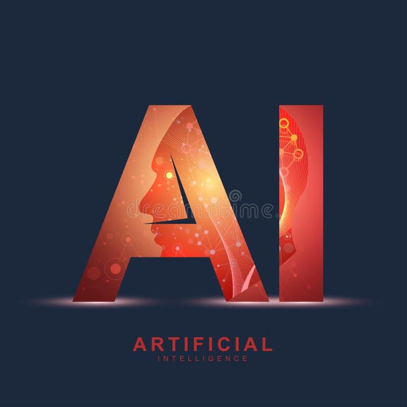 Logotipo da inteligência artificial Conceito da inteligência artificial e da aprendizagem de máquina Símbolo AI do vetor Redes ne ilustração royalty free