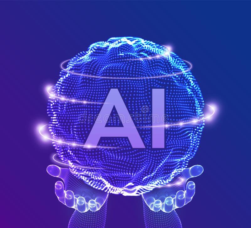 Logotipo da inteligência artificial do AI nas mãos Conceito da intelig?ncia artificial e da aprendizagem de m?quina Onda da grade ilustração stock
