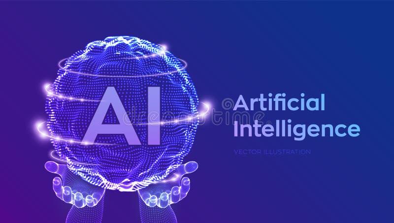 Logotipo da inteligência artificial do AI nas mãos Conceito da intelig?ncia artificial e da aprendizagem de m?quina Onda da grade ilustração royalty free