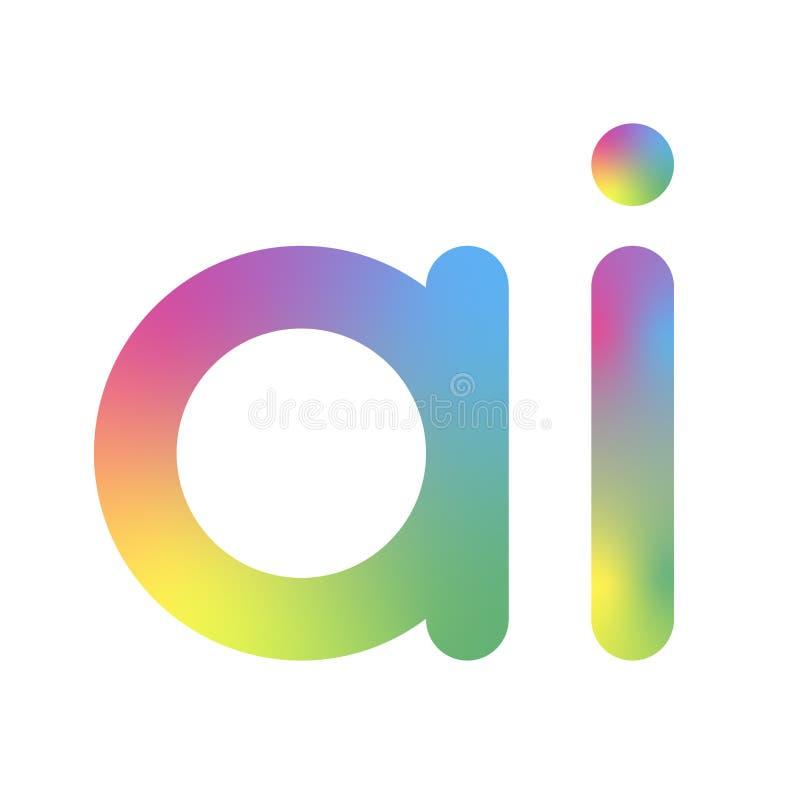 Logotipo da intelig?ncia artificial E Conceito da intelig?ncia artificial e da aprendizagem de m?quina S?mbolo AI do vetor neural ilustração do vetor