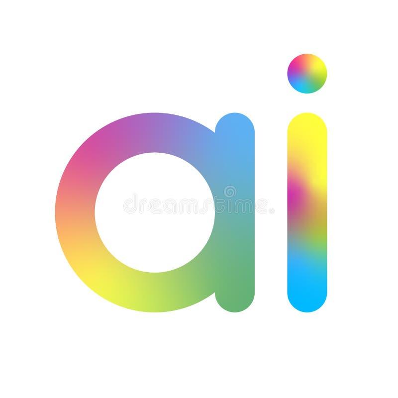 Logotipo da intelig?ncia artificial Letra do AI Conceito da intelig?ncia artificial e da aprendizagem de m?quina S?mbolo AI do ve ilustração stock