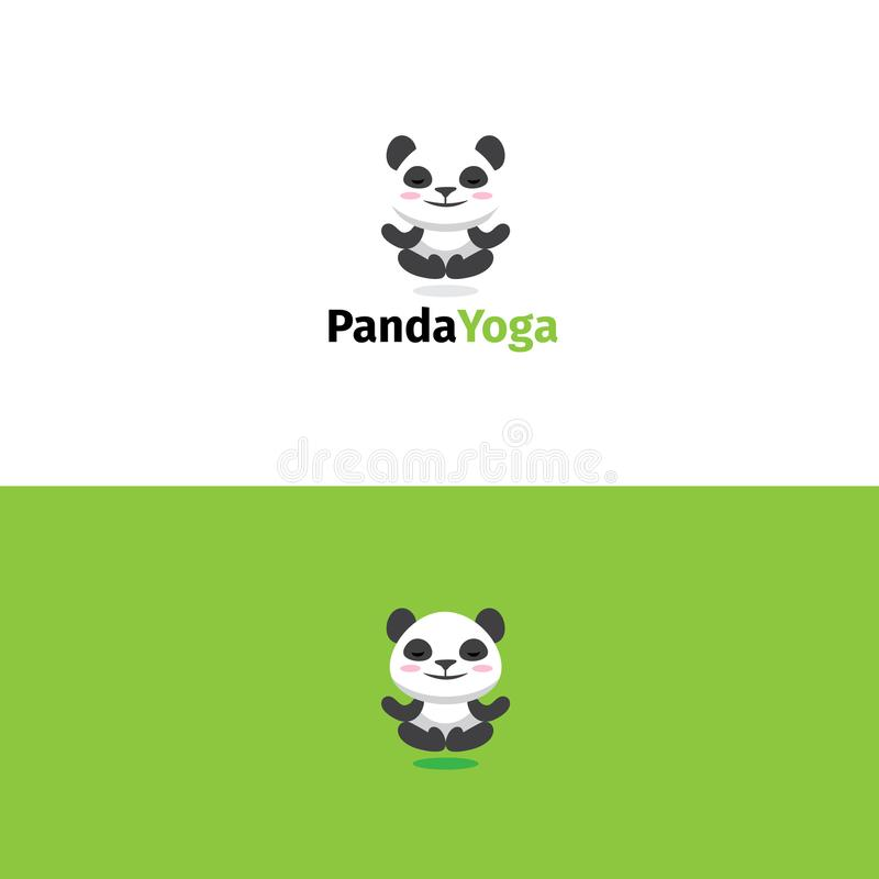 Logotipo da ioga da panda Meditando a mascote do urso ilustração royalty free