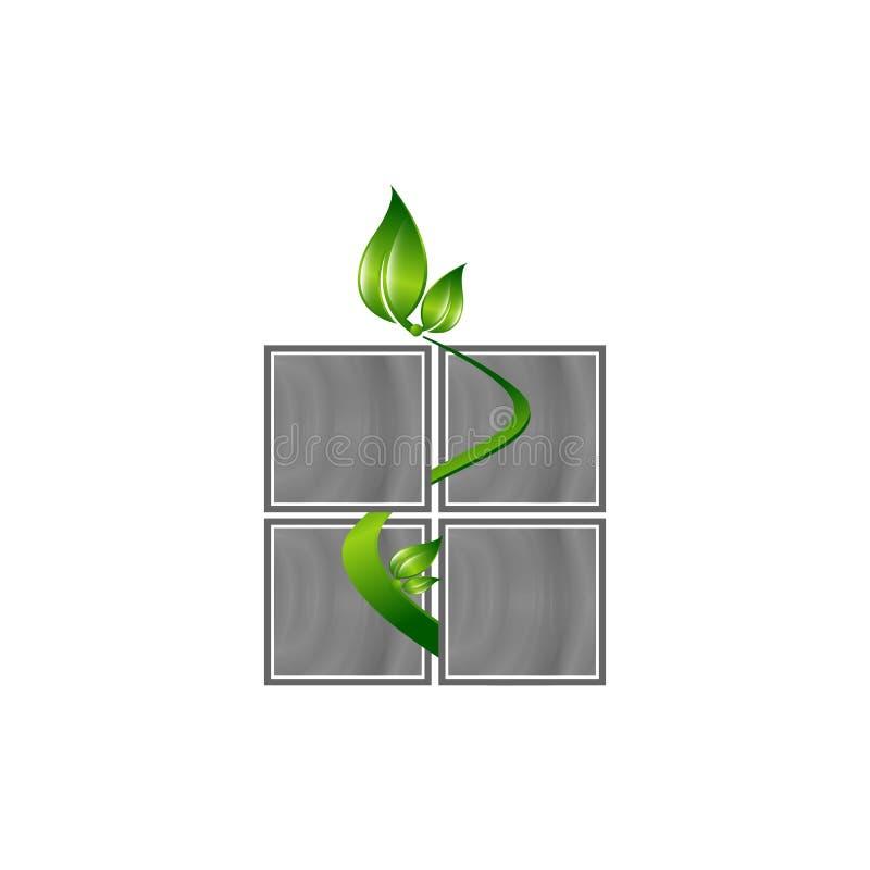 Logotipo da janela de Eco com linha fina casa E ilustração stock