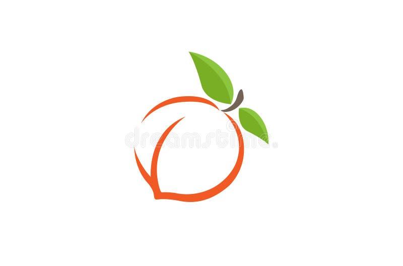 Logotipo da laranja do pêssego ilustração stock