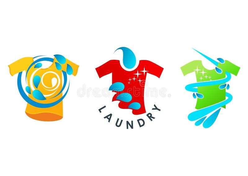 Logotipo da lavanderia, símbolo limpo, projeto de conceito do serviço ilustração stock