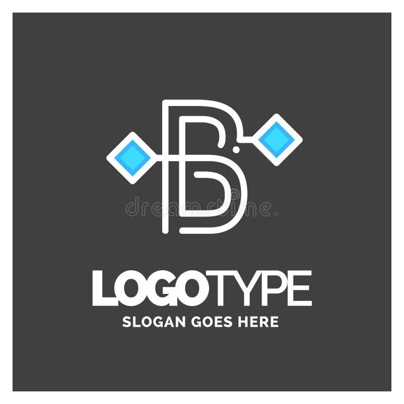 Logotipo da letra B, vetor incorporado do projeto do logotipo do negócio Azul e w ilustração royalty free